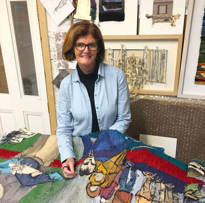 Frances Crowe working in her studio